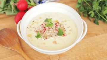 Bryndzová polievka s reďkovkovým šalátom
